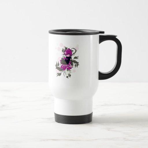cute emo kid sitting on a flower coffee mug