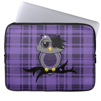 "Cute Emo Owl and Plaid 13"" Electronics Bag"
