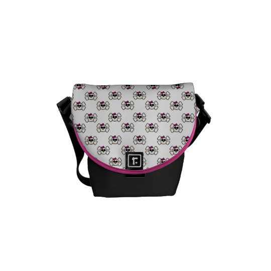 Cute Emo Style Girl Skull and Crossbones Pattern Messenger Bag