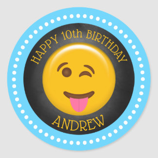 Cute Emoji Birthday Party Classic Round Sticker