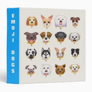 Cute Emoji Dog Faces Vinyl Binder