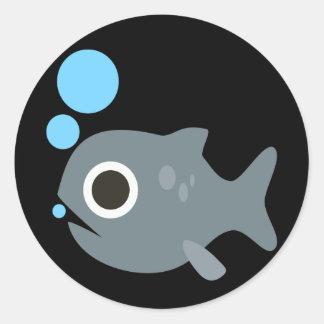 Cute Emoji Fish Classic Round Sticker