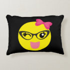 Cute Emoji Girl Accent Pillow