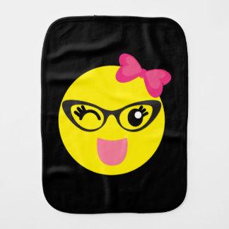 Cute Emoji Girl Baby Burp Cloths