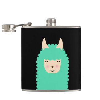 Cute Emoji Llama Hip Flask
