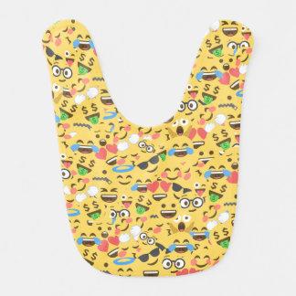 cute emoji love hears kiss smile laugh pattern bib