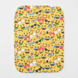 cute emoji love hears kiss smile laugh pattern burp cloth