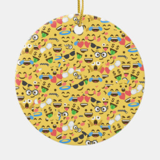 cute emoji love hears kiss smile laugh pattern ceramic ornament
