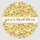 cute emoji love hears kiss smile laugh pattern classic round sticker