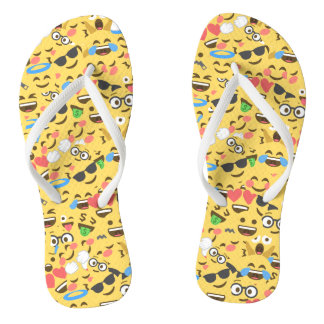 cute emoji love hears kiss smile laugh pattern flip flops