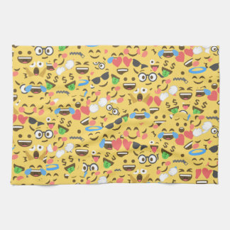 cute emoji love hears kiss smile laugh pattern hand towels