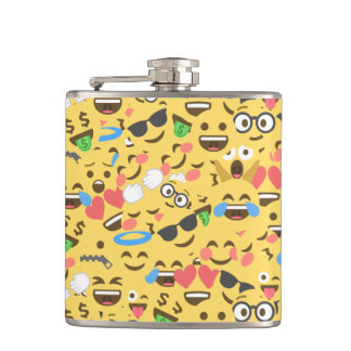 cute emoji love hears kiss smile laugh pattern hip flask