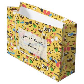 cute emoji love hears kiss smile laugh pattern large gift bag