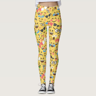 cute emoji love hears kiss smile laugh pattern leggings