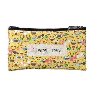 cute emoji love hears kiss smile laugh pattern makeup bags