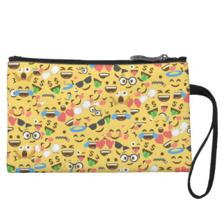 cute emoji love hears kiss smile laugh pattern wristlet clutch