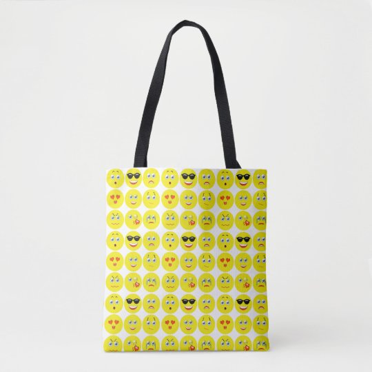 Cute Emoji Pattern Tote Bag