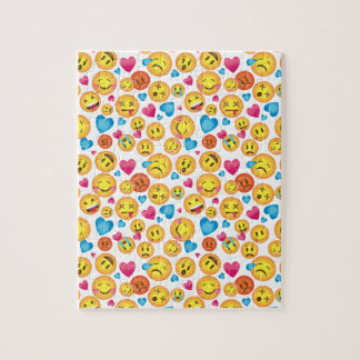 Cute Emoji Print on White Puzzle