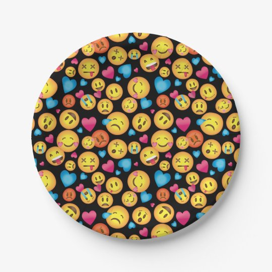 Cute Emoji Print Party Plates 7 Inch Paper Plate
