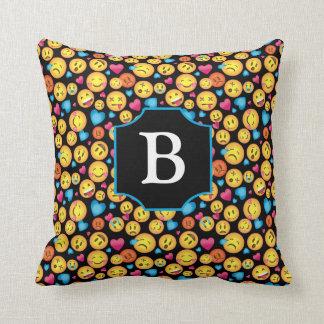 Cute Emoji Print Pillow with Monogram on Black