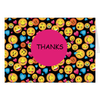 Cute Emoji Print Thank You Note cards