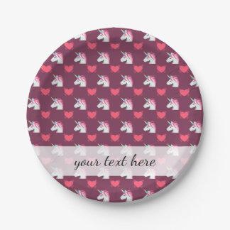 Cute Emoji Unicorn and Hearts Pattern 7 Inch Paper Plate