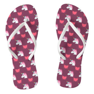 Cute Emoji Unicorn and Hearts Pattern Flip Flops