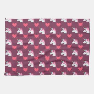Cute Emoji Unicorn and Hearts Pattern Kitchen Towel
