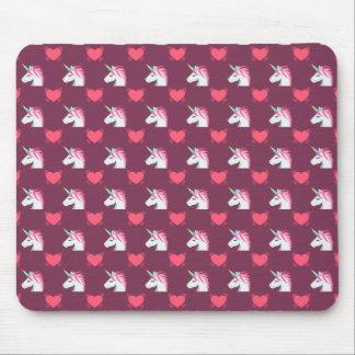 Cute Emoji Unicorn and Hearts Pattern Mouse Pad