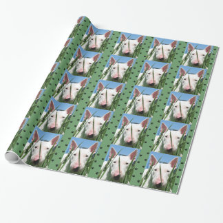 Cute English Bull Terrier #3 (Green) Wrapping Paper