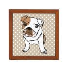 Cute English Bulldog Illustration Desk Organizer
