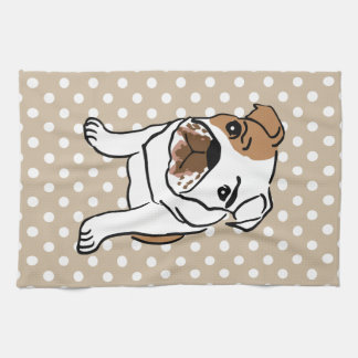 Cute English Bulldog Illustration Kitchen Towel