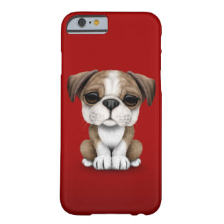 Cute English Bulldog Puppy on Red Barely There iPhone 6 Case