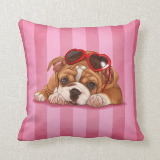 Cute english bulldog puppy throw pillow
