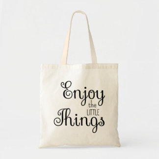 Cute Enjoy the Little Things Typography Tote Bag