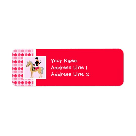 Cute Equestrian Girl. Return Address Label