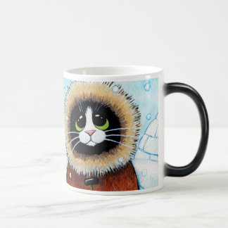 Cute Eskimo Cat and Igloo Magic Mug