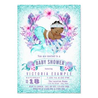 Cute Ethnic Baby Mermaid Baby Shower Invitation