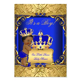 """Cute Ethnic Baby Shower Boy Regal Royal Blue 5"""" X 7"""" Invitation Card"""