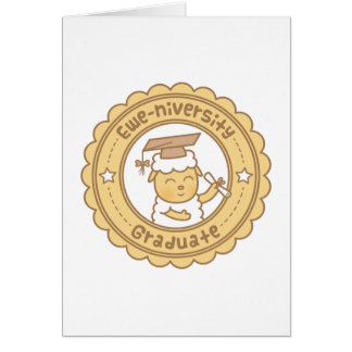Cute Ewe University Graduate Sheep Pun Humor Card