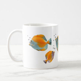 Cute Exotic Vibrant Unique Yellow Butterfly Fish Classic White Coffee Mug