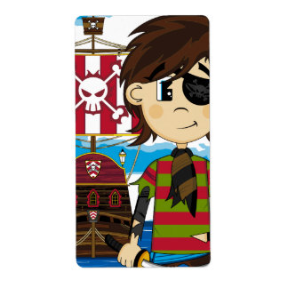 Cute Eyepatch Pirate and Ship Sticker Label Shipping Label