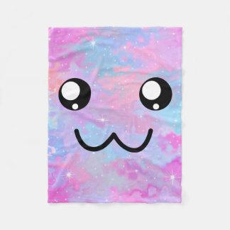Cute Face Kawaii Pastel Magical Colorfull Fleece Blanket