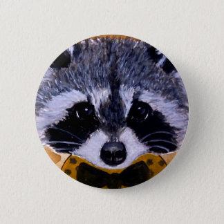 Cute face raccoon art 2 inch round button