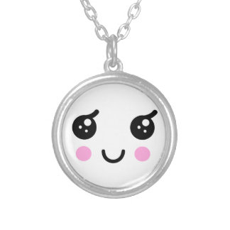 Cute Face Silver Plated Necklace