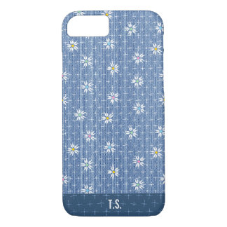Cute faded grainy denim with simple flowers Case-Mate iPhone case