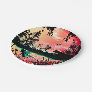 Cute fairies and birds 7 inch paper plate