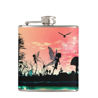 Cute fairies and birds flying in the sunset flasks
