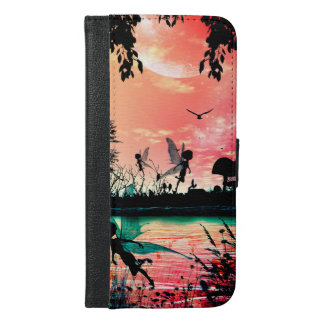 Cute fairies and birds flying in the sunset iPhone 6/6s plus wallet case