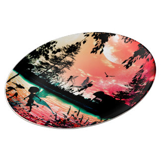 Cute fairies and birds flying in the sunset porcelain plate